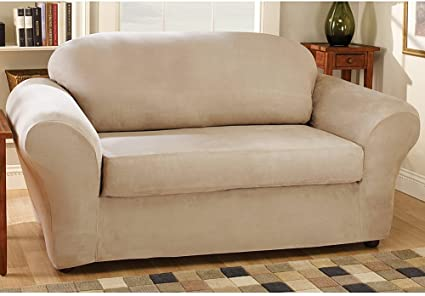 Stretch Suede Separate Seat Loveseat Slipcover Box Cushion Fabric As Shown Oatmeal Amazon Co Uk Kitchen Home