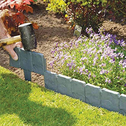 Jannyshop PP Stone Effect Plastic Foldable Garden Edging Plant Flower Border edging Fence (10PCS) by Jannyshop
