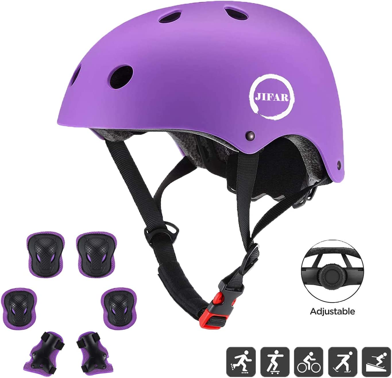 JIFAR Youth Kids Bike Helmet for Ages 3-11, Adjustable Toddler Protective Gear with Elbow Knee Wrist Pads for Skateboarding Bicycling Hiking, S Size for Girls Boys Helmet