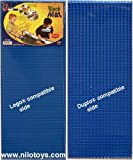 NILO Blue Lego Compatible Base Plates - Double-Sided Duplo & Lego Mat - Large Snap Fit Reversible Brick Board 12'x32' (Set of 2X Blue)