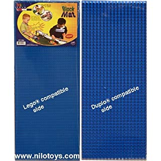 """NILO Blue Lego Compatible Base Plates - Double-Sided Duplo & Lego Mat - Large Snap Fit Reversible Brick Board 12""""x32"""" (Set of 2X Blue)"""