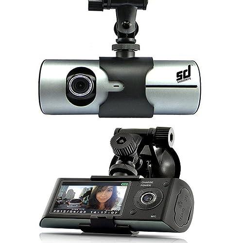 Smiledrive Dual Lens Car Vehicle Mounted Dash Cam/Camera/Camcorder Black Box DVR with GPS Logger G-sensor R300