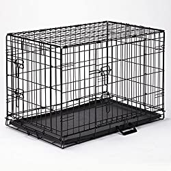 "Easy Dog Crates - Black; X-Small, 18""L x 12½""W x 15""H, Small, 24""L x 17""W x 20""H, Med., 30""L x 19""W x 22""H; Med./Large, 36""L x 22½""W x 25""H; Large, 42""L x 28""W x 31""H; X-Large, 48""L x 30""W x 33""H"