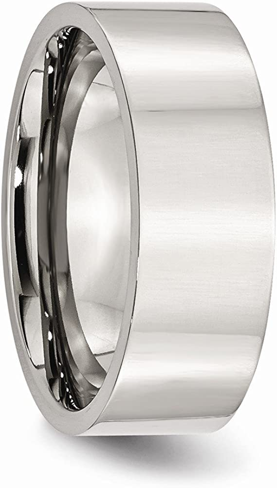 Mens Stainless Steel Flat Polished Wedding Band Ring