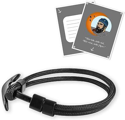 Pulsera de ancla NiMBIM para hombres y mujeres, color negro, para marineros, buques, ideal como regalo