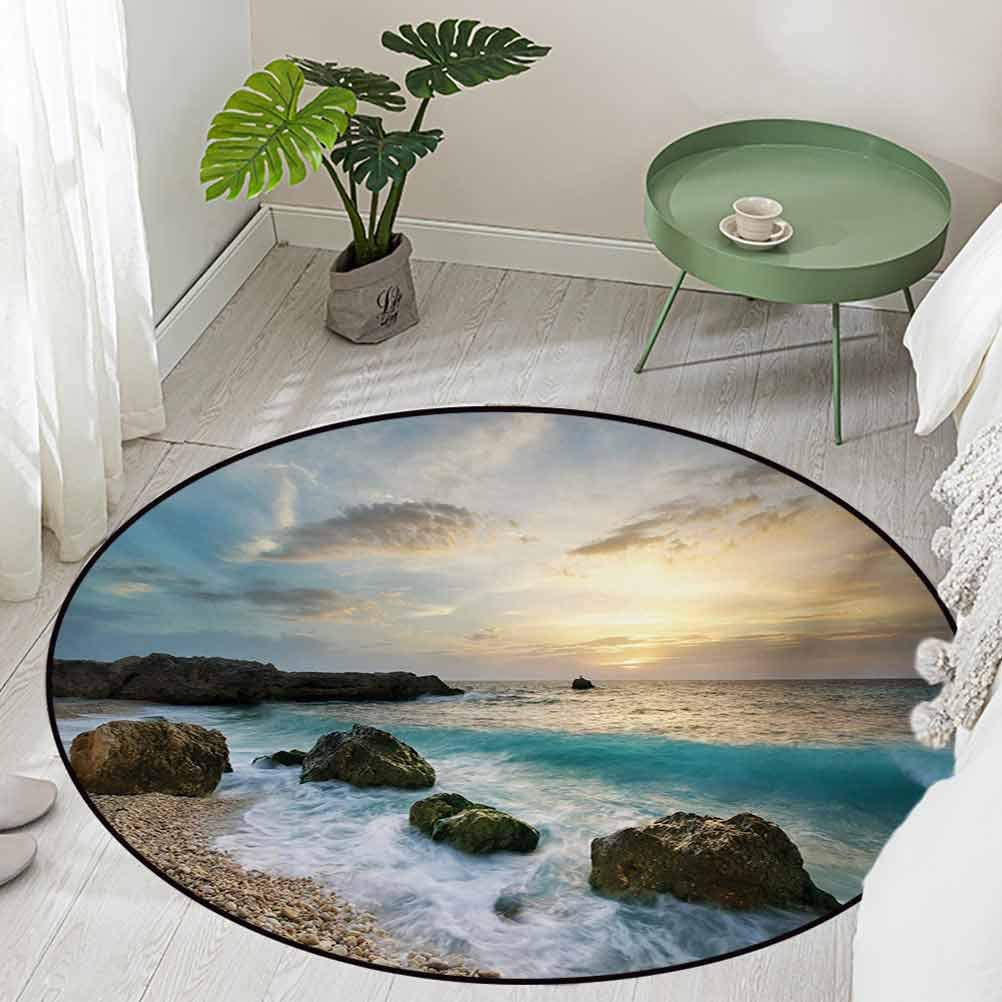 Round Office Chair Floor Mat Foot Pad Seascape Composition of Nature Rocks Waves Cloudy Sky Rising Sun Beach Photo Diameter 66 inch Contemporary Indoor Area Rugs