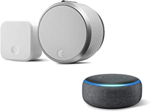 August Smart Lock Pro + Connect Bridge in Silver. Works with Z-Wave, HomeKit & Alexa - Includes Echo Dot (3rd Gen in Charcoal) - Items Ship Separately