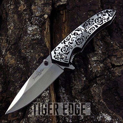 New SPRING-ASSIST FOLDING POCKET ProTactical Limited Edition Elite Knife  Femme Fatale Black Silver Rose Tactical Girl