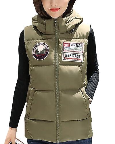 Sin Mangas Ligero Chaleco Acolchado Chaqueta Con Capucha Casual Para Mujer Verde Del Ejército M