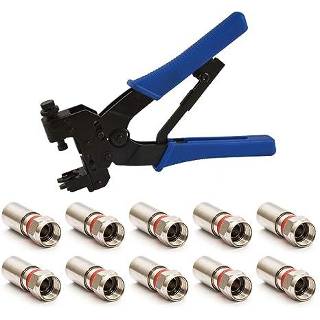 PremiumX Outdoor-Special Alicate Cable Alicate Crimpadora con 10 Conectores F de compresión Xcon 324