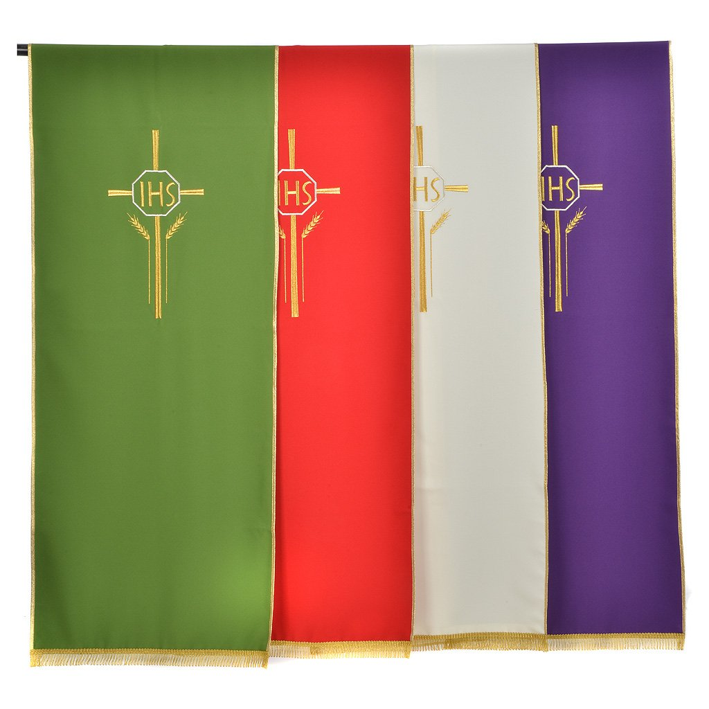Lectern Cover in polyester with IHS, cross, ears of wheat, Green Holyart