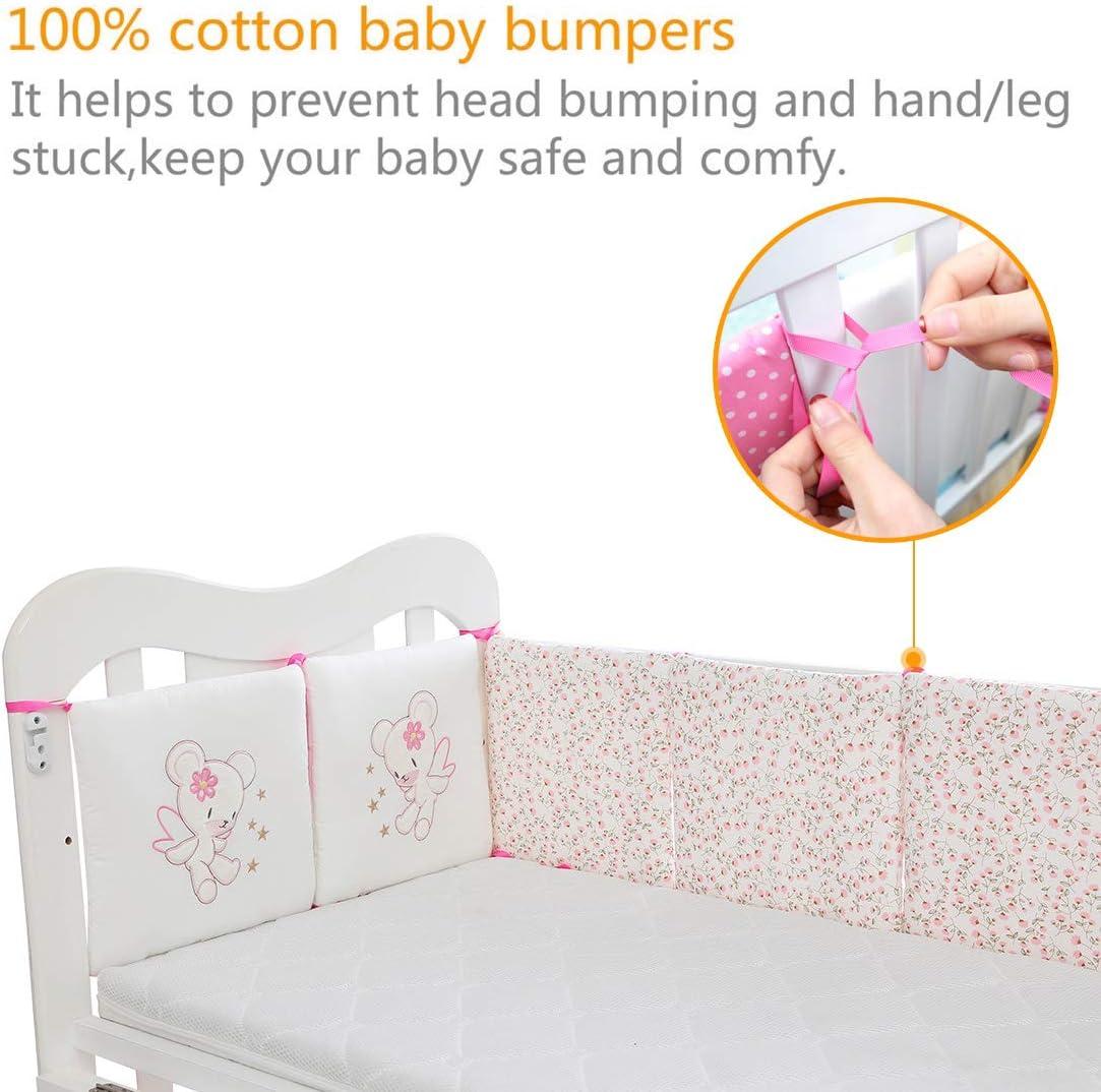 Jiyaru 6pcs Baby Bumper Cotton Crib Bedding Bumper Pads Cot Toddler Crib Nursery Bedding Set Cushion Pillow Bear 30x30x2cm