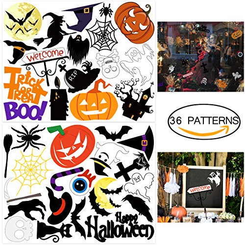 BESTOYARD Halloween Stickers Trick or Treat Stickers Pumpkins Spooky Witch and Bats Tomb Decals Sheet Removable Window Stickers for Halloween Party Favors 36 Patterns 2 Sheets