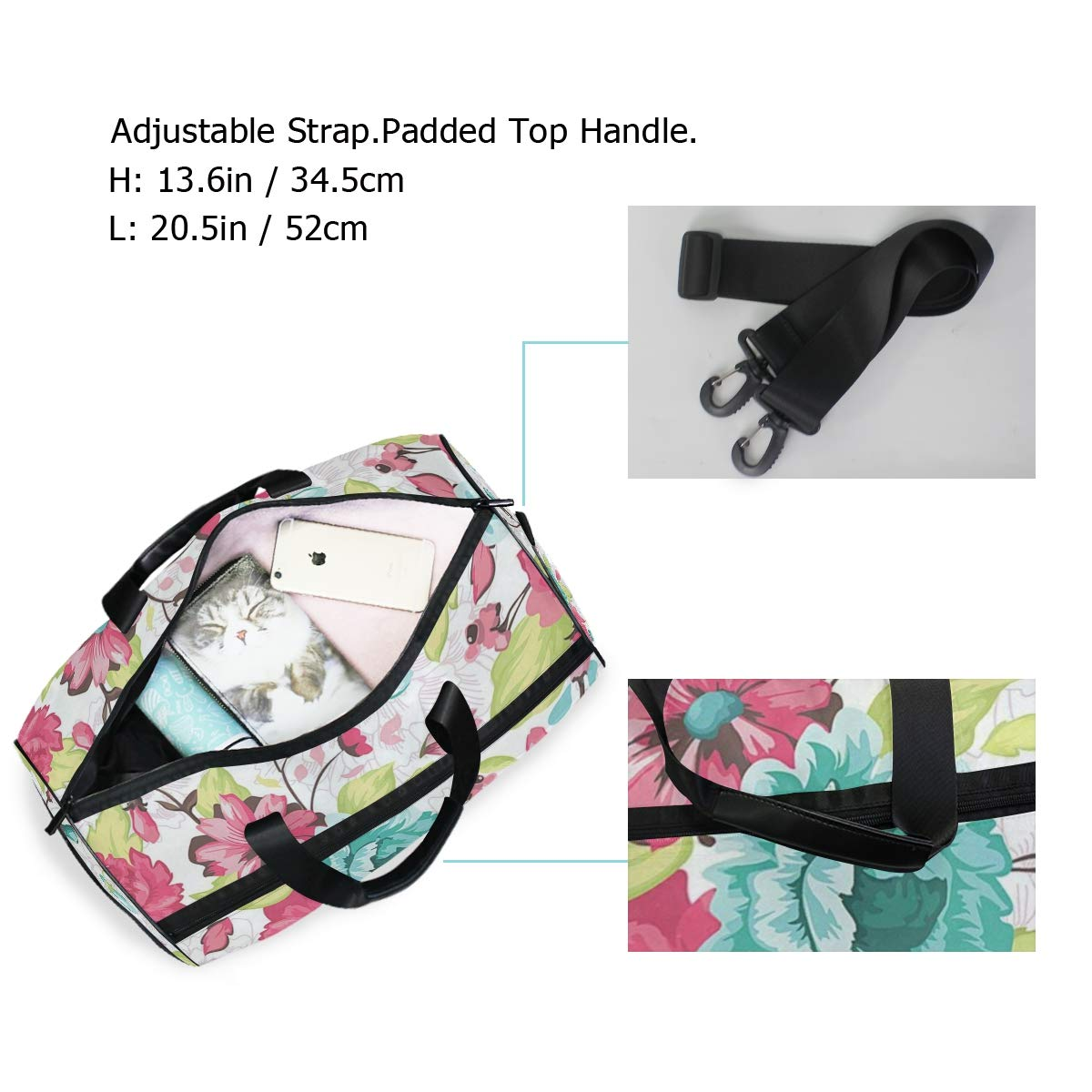 Travel Gym Bag Happy Mothers Day Floral Flowers Love Mom Pattern Casual Fashion Bag With Shoes Compartment Foldable Duffle Bag For Men Women