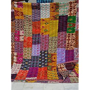 Amazon.com: Queen Size Patchwork Silk Kantha Quilt 90x108 Inch ... : indian sari quilts - Adamdwight.com