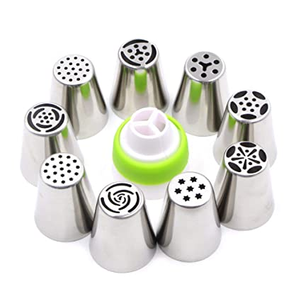 ON GATE Stainless Steel Icing Nozzles with 1 Coupler for Decorating Cupcake Pastries�