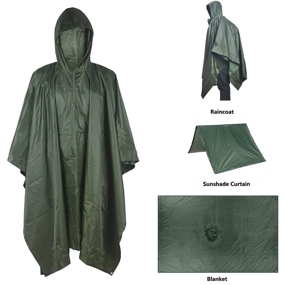 A-MORE Waterproof Raincoat Rain Poncho Lightweight Ripstop Hooded Picnic MatRain Fly Backpack Cover (Green)