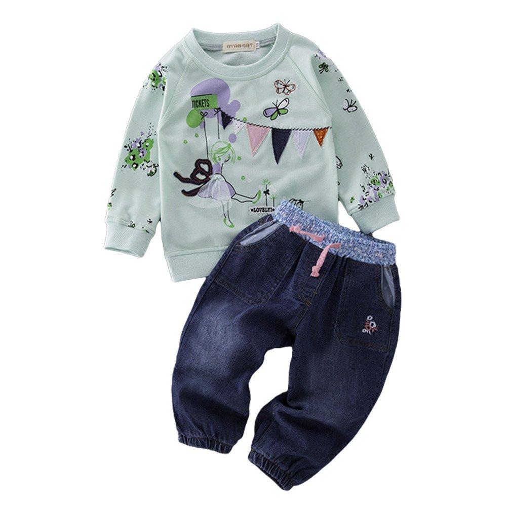 AvaCostume Girls Long Sleeve Applique Printing Shirt Jeans Set