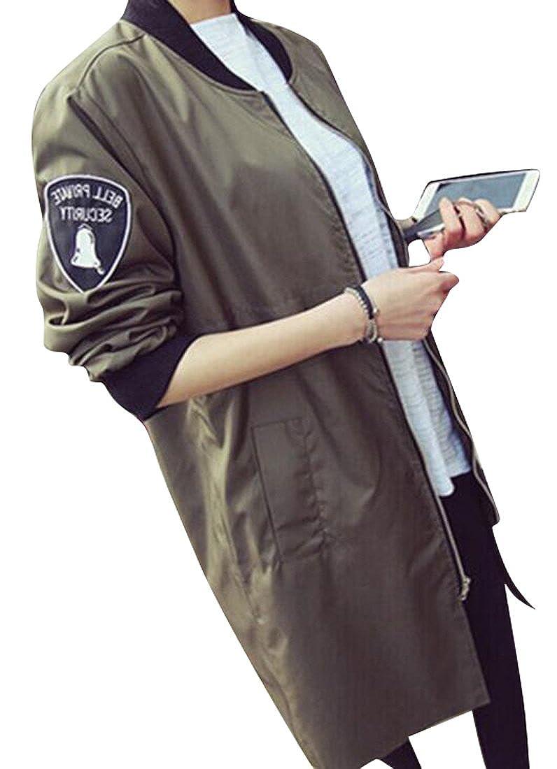 b518c545444 Fensajomon Womens Winter Zip Up Thicken Warm Varsity Jacket Trench Coat  Overcoat at Amazon Women s Coats Shop