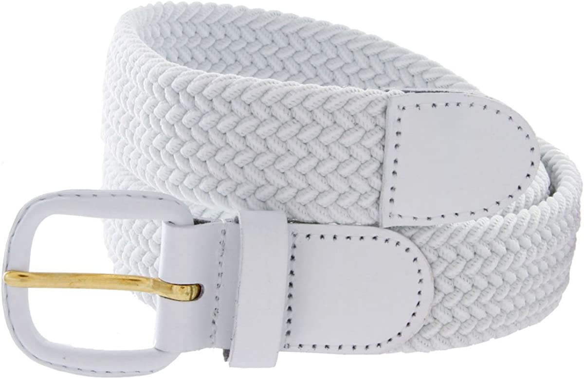 Braided Elastic Woven Stretch Belt Solid Color Leather Tipped Buckle and Tip