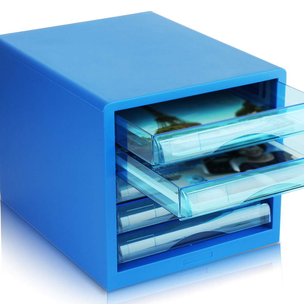 File cabinets LITING Fashion Desktop Drawer Plastic Storage A4 Data Classification (Color : Blue)