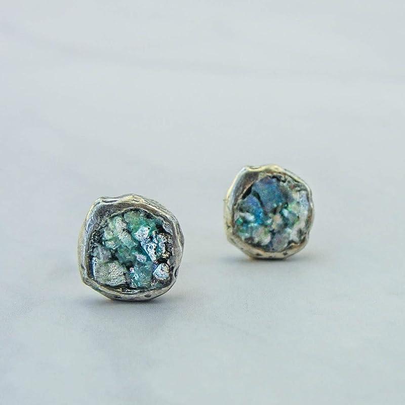 as 417515e Roman Glass Jewelry ancient glass Gift Israeli Jewelry,Oval Earrings Hadas1951,roman glass earrings Silver Earrings  Glass