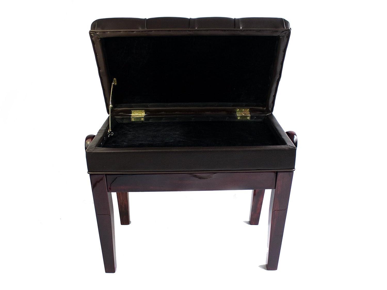 Symphony Si/ège Coussin Hauteur r/églable banc de piano avec rangement Polished Mahogany