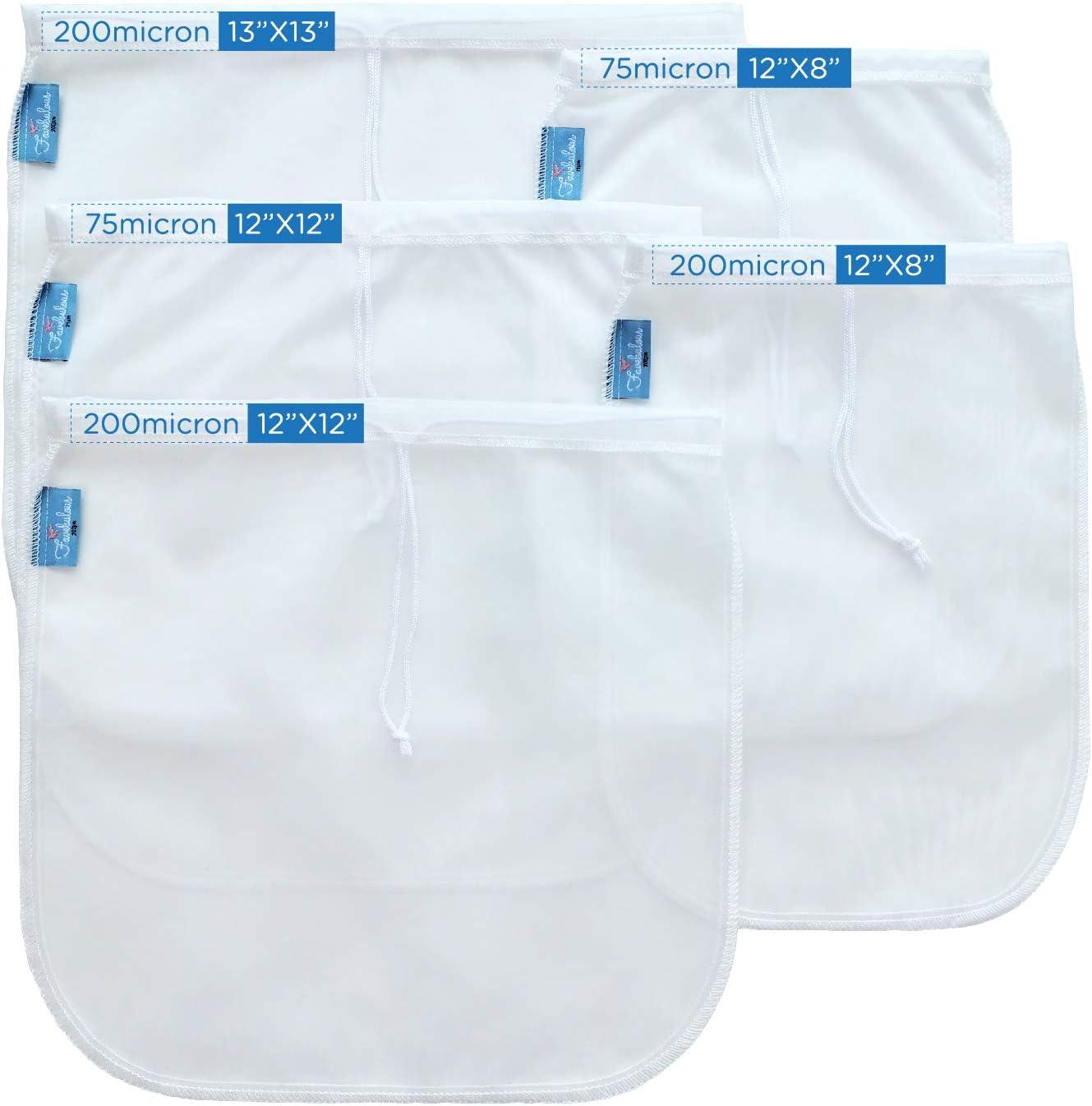5 Multi Pack Premium Nut Milk Bag - 75&200 Micron - Durable Reusable Ultra Fine Mesh Nylon Cheesecloth Strainer For Cold Brew Coffee Tea Almond/Soy Milk Yogurt Beer Celery Juice - Food Grade BPA Free