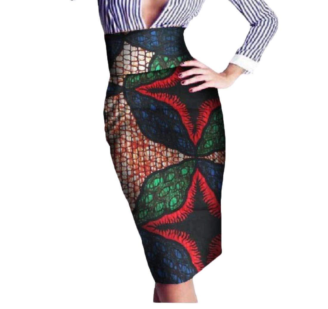 Women's Batik OL Africa Floral High Waisted Hijab Club Bodycon Skirt 5 L