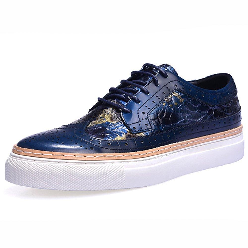 Bullock Herrenschuhe Herren Geschnitzt Freizeitschuhe Dick-Soled Mode Herren Herrenschuhe Leder Flut Schuhe,Blau,44 8f8dbc