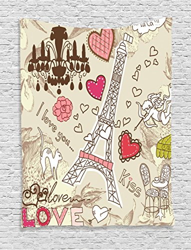 Cheap Ambesonne Paris Decor Tapestry Wall Hanging Doodles Illustration Eiffel Tower Hearts Chandelier Flower Love Themed Vintage Artwork, Bedroom Living Room Dorm Decor, 60 x 80 inches, Beige Pink