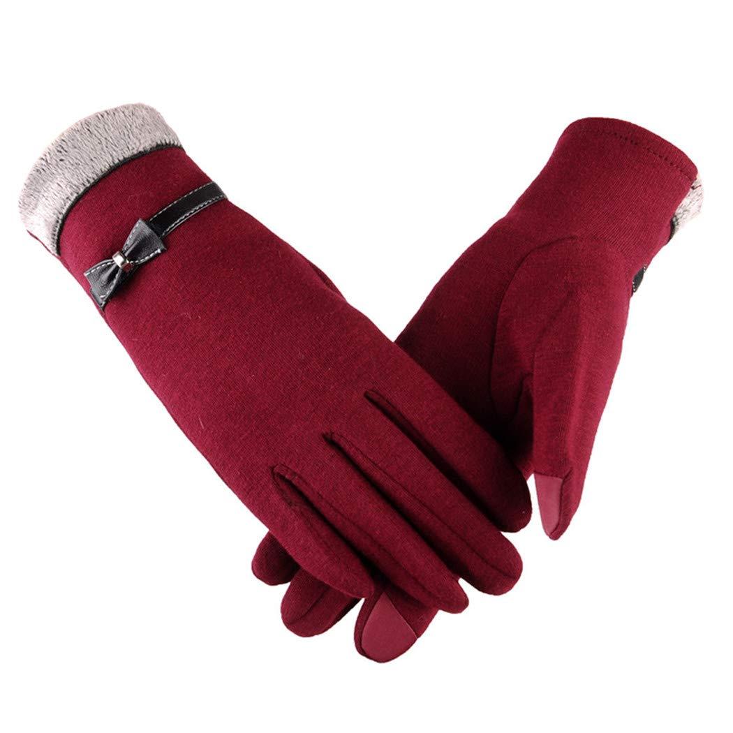 Alixyz Women Bowknot Fashion Mitten Winter Warm Gloves Ski Wind Protect Hands Gloves (Red)