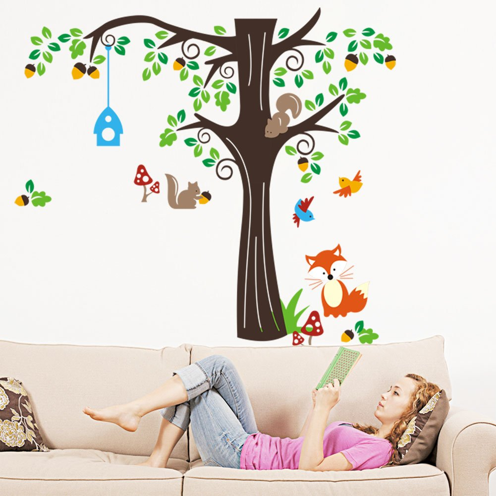 nursery tree wall art shenra com amazon com 150 x134cm nursery forest animals birds fox squirrel