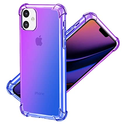 Sankel Compatible for iPhone 11 Case,Women Soft TPU Ultra Thin Slim Fit  iPhone 11 Cover Gradient Clear Reinforced Corner Transparent Phone  Protective