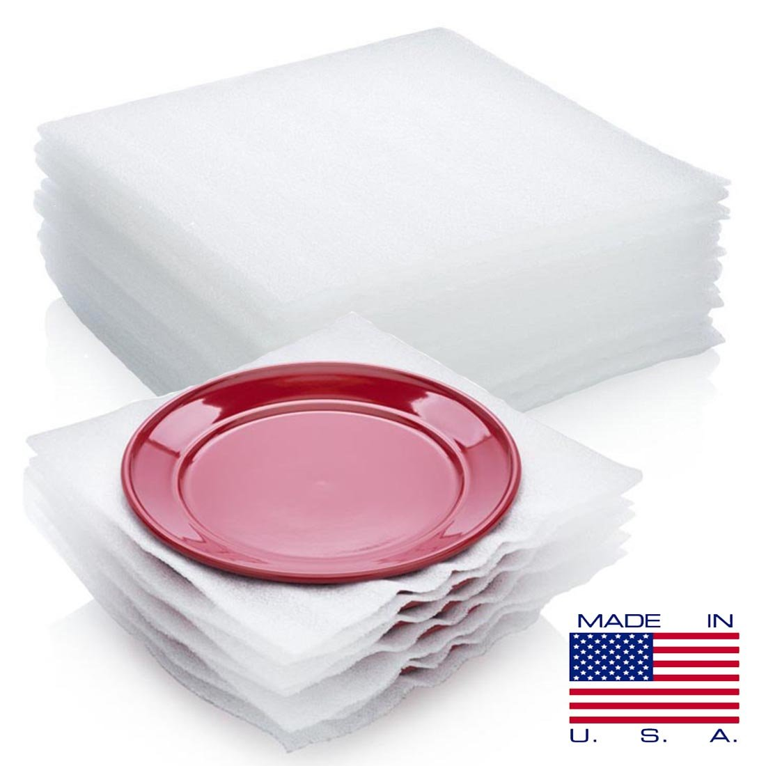 """50-Count Packing Supplies Cushion Foam Sheets Safely Wrap to Protect Dishes China Glasses Fragile Items for Moving 12"""" x 12"""" by DONCHEFF"""