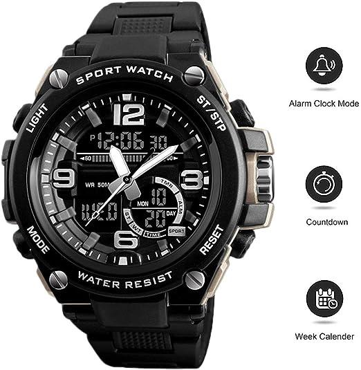 XIGG Reloj Digital Hombre Deportivo, Relojes De Pulsera Digital Grande Impermeable con Alarma/Cuenta Regresiva/Cronómetro / 12/24H, para Actividades al Aire Libre,Negro: Amazon.es: Jardín
