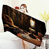 Anhounine Customized bath Towels Western Decor Mystic Night in Hotel Room Dallas with Lantern Nightstand Table and Poker Card Print fancy towels 63''x31.5'' Brown