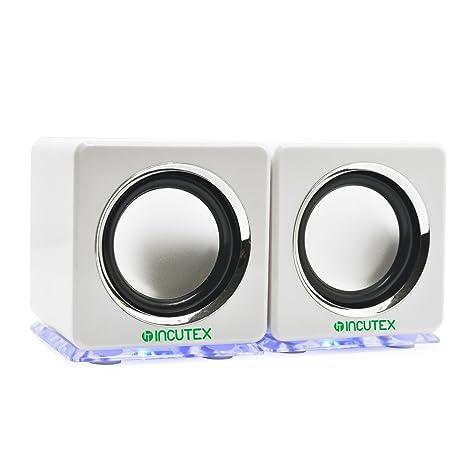 Incutex altavoces LED portátiles coloridos, altavoces para ordenador y portátil, blanco