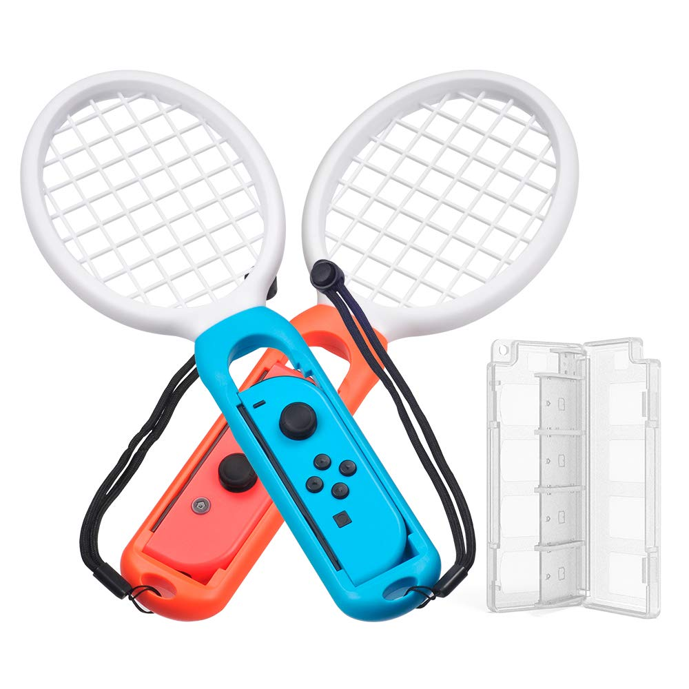 Meo Mario Tennis Compatible with Nintendo Switch Game Joy-Con Racket Accessories Twin Pack and Games Card Box(Blue&Red)