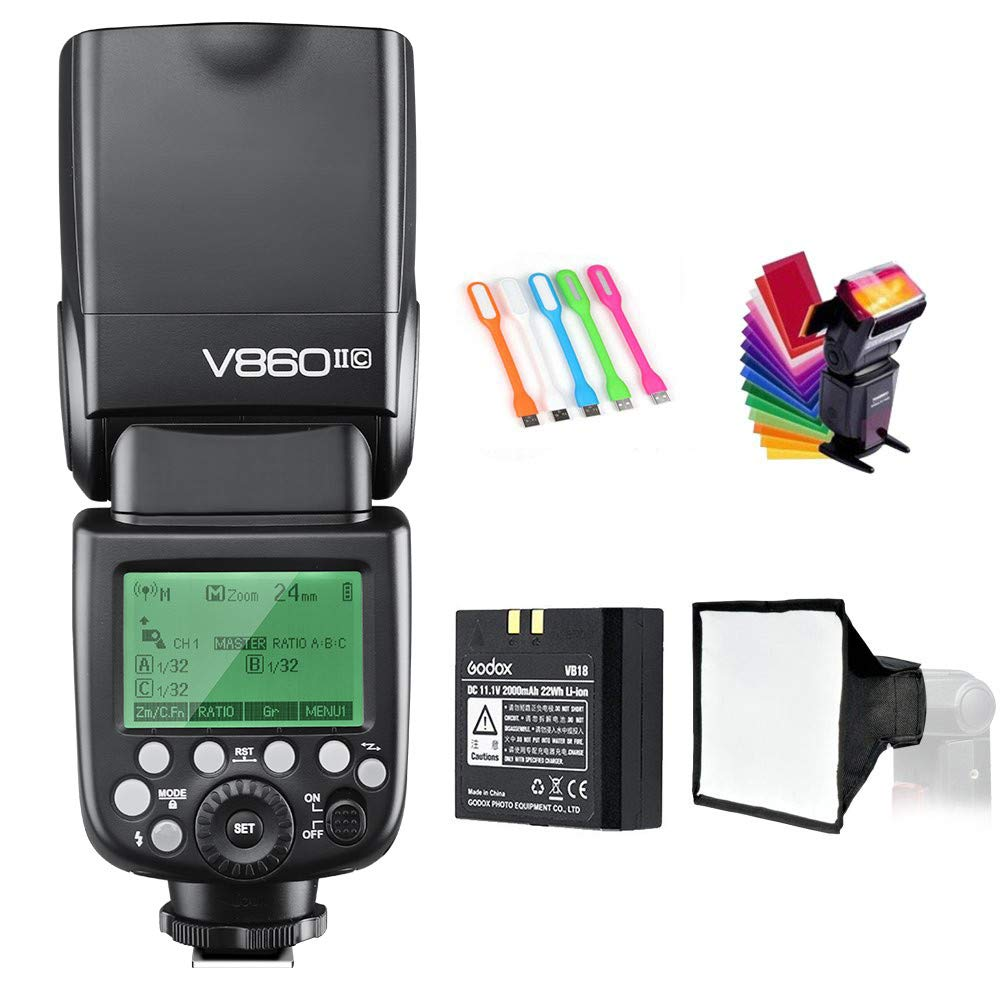 Godox V860II-C E-TTL HSS 1/8000s 2.4G GN60 Li-ion Battery Camera Flash Speedlite Light Compatible for Canon EOS cameras with USB LED by Godox