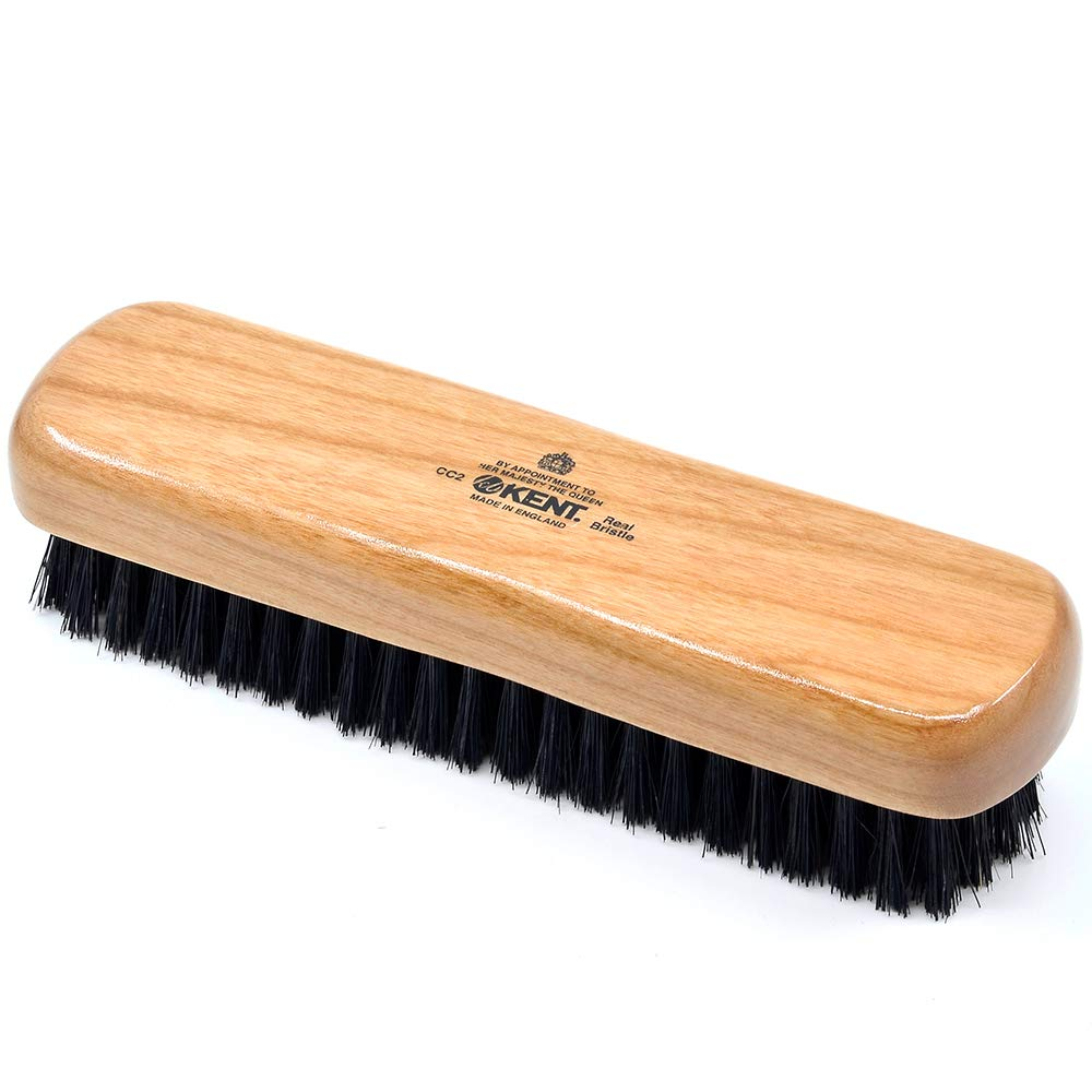 Kent CC2 Handcrafted Travel Size Cherrywood Clothes Brush - Pure Black Bristle - Lint / Cashmere Brush