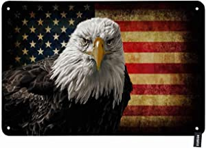 HOSNYE Bald Eagle on Grunge American Flag Tin Sign Vintage Metal Tin Signs for Men Women Wall Art Decor for Home Bars Clubs Cafes 8x12 Inch
