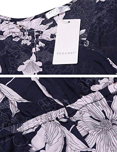 Ekouaer Sans Manches Femmes V Cou Barboteuse Salopette Imprimé Floral Short Dos Nu Barboteuses De Bleu Marine