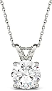 Forever One Round 8.0mm Moissanite Pendant Necklace, 1.90ct DEW (D-E-F) by Charles & Colvard