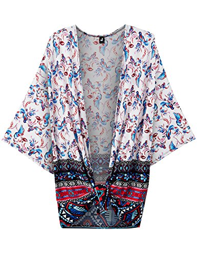 rnia WT1578 Womens Printed Kimono Shawl Cardigan Top - Made in USA OS Blue_Pink (Printed Kimono Top)