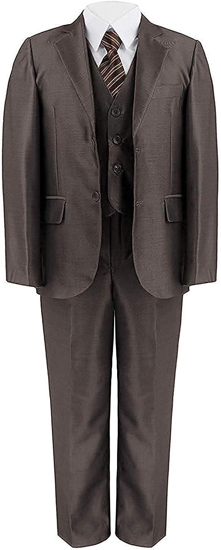 RageIT Boys 5 Piece Suit Shiny Party Jacket Trousers Shirt Waistcoat Tie