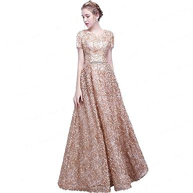 aswomoye Line Evening Dresses FormalDress Short Sleeve Prom Dress ...