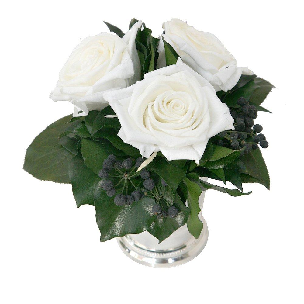 Blumengesteck 3 Jahre haltbar in Silberbecher mit 3 Rosen ewigen konserviert in Rot und Efeublätter ROSEMARIE SCHULZ® (Weiß)