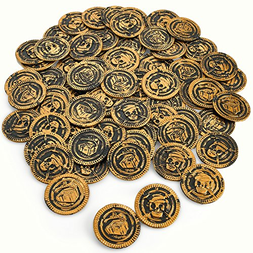 Pirate Coins Pirates Treasure Coins - 72 Pack Plastic, Each Coin Is 1 3/8 Inches - Pirate Doubloons Chest Fillers – For Kids, Toys Games, Great Party Favors, Bag Stuffers, Fun, Toy, Gift, Prize, Piñat