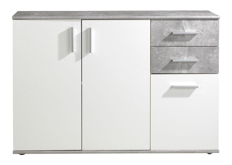 Weiß Kommode Bobby 5 Anrichte Beton 120 cm breit Schrank Sideboard